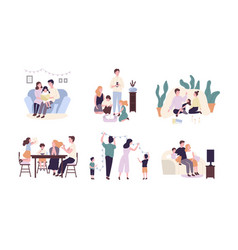 family members spending time together at home vector image