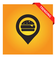 Fast food with pin icon vector