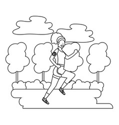 fitness sport woman cartoon vector image
