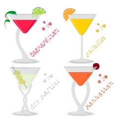 For set alcohol cocktails manhattan vector