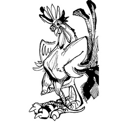 Funny hand drawn cock standing with arms akimbo vector