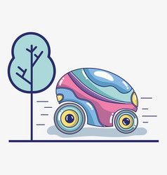 Futuristic car on the street and tree vector