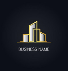 gold modern building company logo vector image
