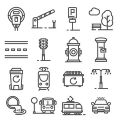 Gray line city amenities icons set vector