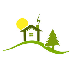 Green house on top of hill environment icon logo vector