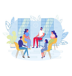 Group psychotherapy session scene with people vector