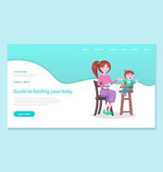 Guide to feed your baby mom and son website page vector
