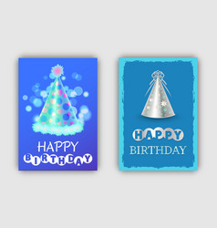 happy birthday greeting card with lettering design vector image