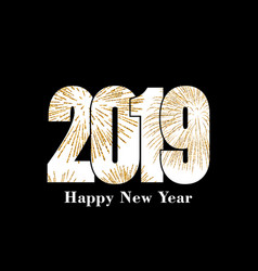 happy new year card white number 2019 with gold vector image