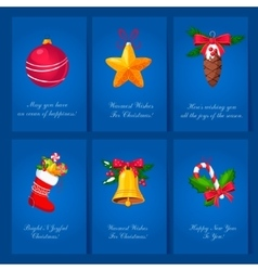 Holiday cards with christmas balls and toys vector image