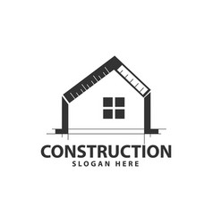 Home construction rulers window logo design vector