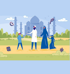 islamic family honoring religious traditions vector image