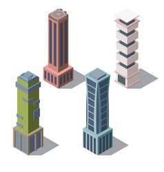 isometric buildings cartoon skyscrapers vector image
