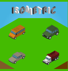 Isometric car set of auto autobus freight and vector