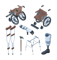 isometric of wheelchair and other vector image