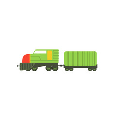 kids cartoon green toy cargo train railroad toy vector image