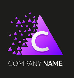 Letter c logo symbol on colorful triangle vector