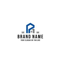 Letter p home logo design vector