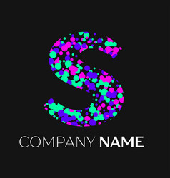Letter s logo with pink purple green particles vector