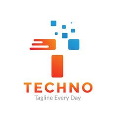 Letter t for technology logo designs vector