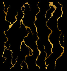 luxury golden wall cracks isolated on black vector image