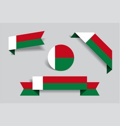 madagascar flag stickers and labels vector image