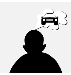man dreaming about car vector image vector image