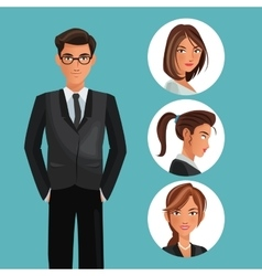Man elegant employee office women icons vector