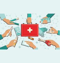 medical kit set with necessary first aid equipment vector image