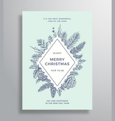 Merry christmas abstract frame greeting vector