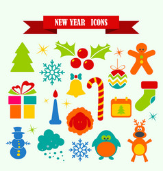 multicolored icons with tape on topic new year vector image