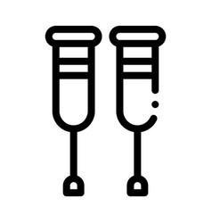 orthopedic crutches walking equipment icon vector image