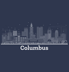 Outline columbus ohio city skyline with white vector