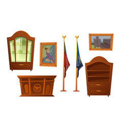 Oval cabinet furniture president us workplace vector