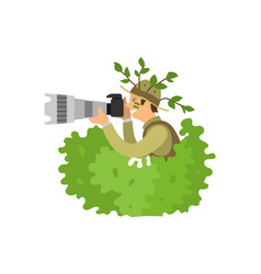 Paparazzi photographer spy in bushes freelancer vector