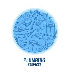 Plumbing service banner vector