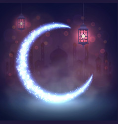ramadan kareem lanterns background eid mubarak vector image