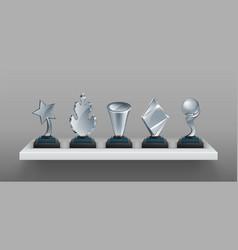 realistic bookshelf with trophies 3d transparent vector image