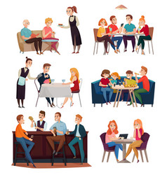 Restaurant and pub visitors set vector