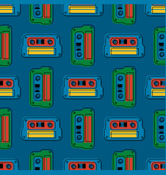 Retro cassette regular seamless pattern vector