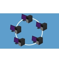 ring network topology LAN design networking vector image
