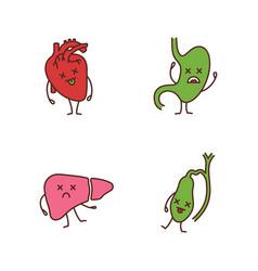 Sad human internal organs characters color icons vector