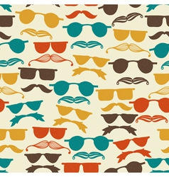 Seamless hipster pattern with glasses vector image
