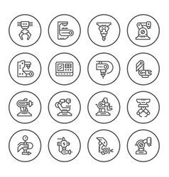 set round line icons of robotic industry vector image