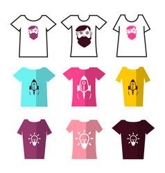 Shirts symbols tshirts icons set with prints vector