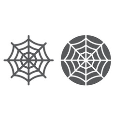 spider web line and glyph icon halloween vector image
