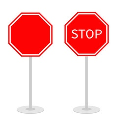 Stop traffic warning road sign set with stand vector