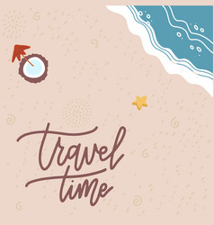 summer time banner flat sand and sea texture vector image