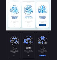 Team conflicts onboarding mobile app page screen vector