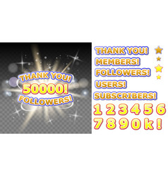thank you fifty thousand followers banner vector image